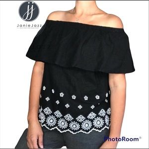 Old Navy NWT Black Off-The-Shoulder Embroidered Linen-Blend Top Size XS